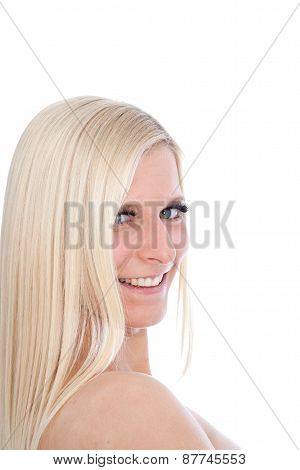 Happy Blond Woman Looking Sideways
