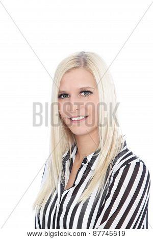 Portrait Of Woman Wearing Striped Shirt In Studio