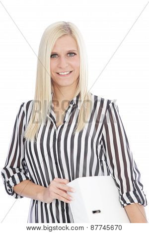 Blond Woman In Striped Shirt Holding Binder