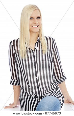 Smiling Blond Woman Wearing Striped Shirt