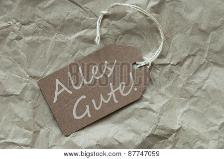 Beige Label With Alles Gute Means Best Wishes Paper Background
