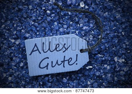 Purple Stones With Label Alles Gute Means Best Wishes