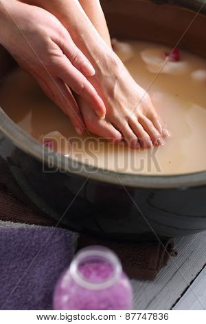 Relaxing foot bath, moment of relaxation