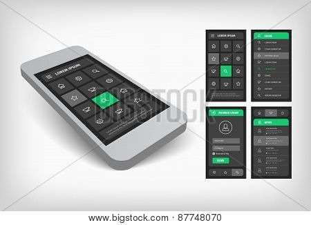 3d visualization of green ui design