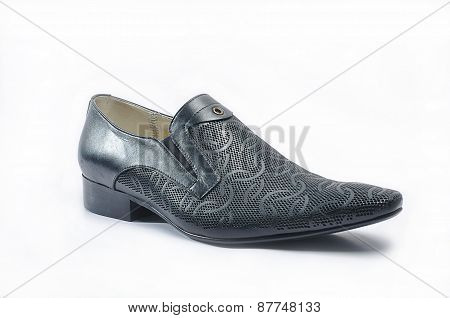 Men's black snakeskin shoes