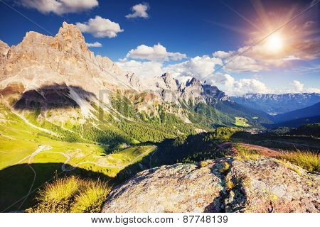 Majestic view of the Cimon della Pala with passo Rolle. National Park Paneveggio. Dolomites, South Tyrol. Location Pale di San Martino. Italy, Europe. Dramatic unusual scene. Beauty world.