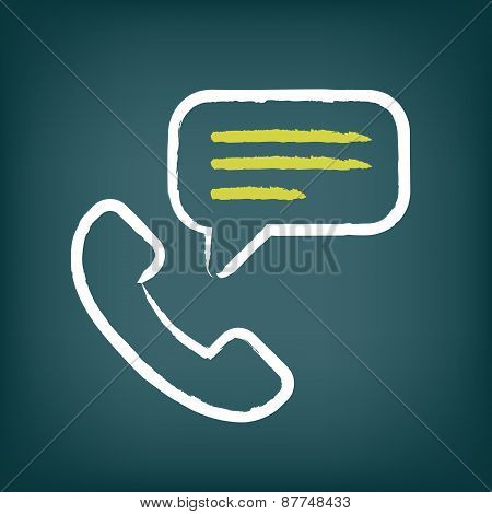 Phone call chalk icon with speech bubble.