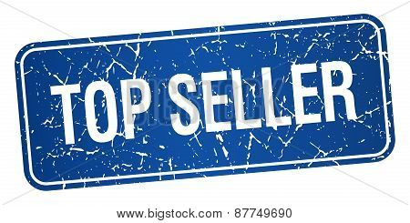 Top Seller Blue Square Grunge Textured Isolated Stamp
