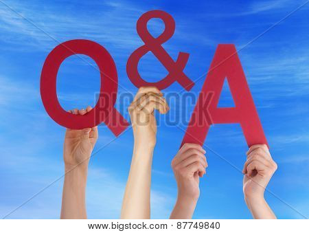 Hands Holding Red Word Questions And Answers Blue Sky