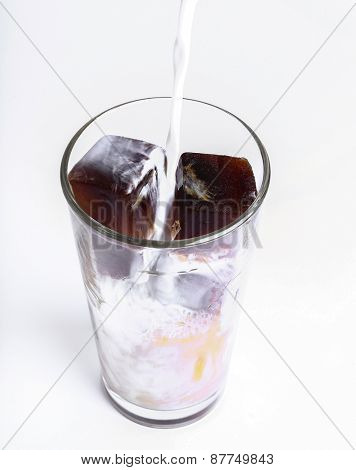 Drink, ice. Frozen coffee cubes