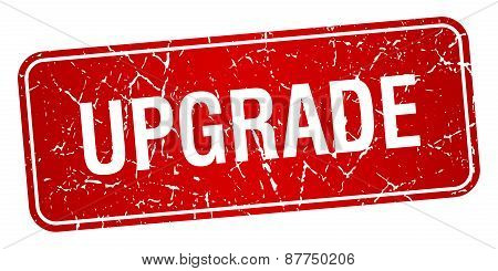 Upgrade Red Square Grunge Textured Isolated Stamp