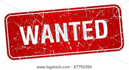 Wanted Red Square Grunge Textured Isolated Stamp