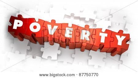 Poverty - White Word on Red Puzzles.