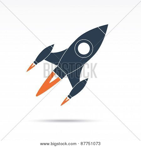 Space rocket icon. Vector illustration