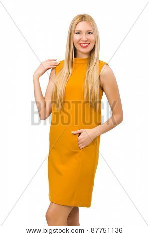 Pretty girl in ocher dress isolated on white