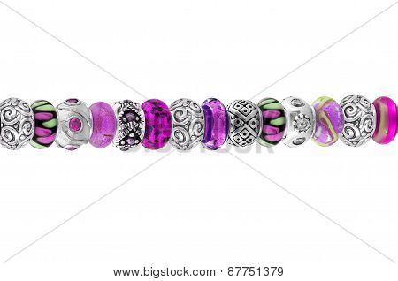 Beautiful Silver Bracelet With Precious Stones Isolated On White Background