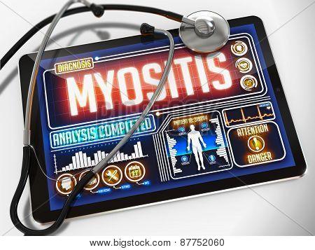 Myositis on the Display of Medical Tablet.