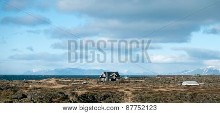 Rural farmland on the coast in Iceland