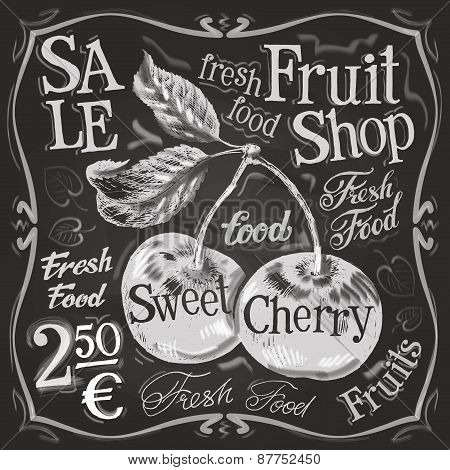 cherry ripe vector logo design template. fresh fruit, food or menu board icon.