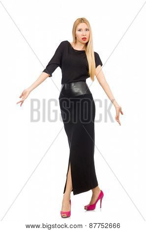 Young woman in black long dress isolated on white