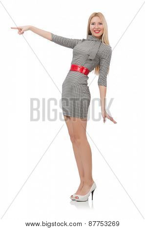 Pretty woman in gray dress isolated on white
