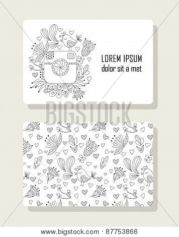 Card with hand drawn floral elements and photo camera.