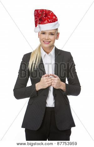 businesswoman with red hat