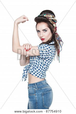 Beautiful Woman In Retro Pinup Style With Powerful Gesture We Can Do It