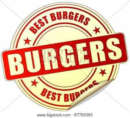 Burgers Red Sticker