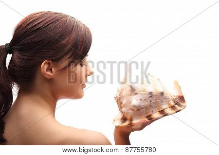 Portrait Of Smiling Young Woman Holding Plate With Honey