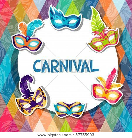 Celebration festive background with carnival masks stickers
