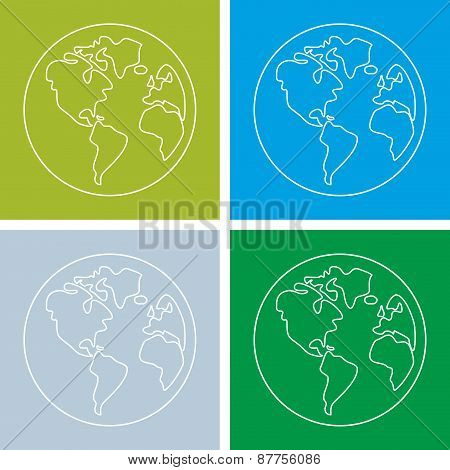 Planet Earth green and blue vector sign
