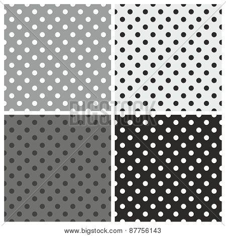 Seamless black, white and grey vector pattern or tile background set with polka dots