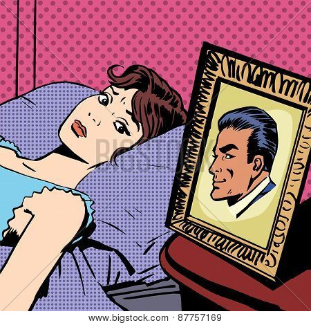 woman in bed photo men wife husband pop art comics retro style H