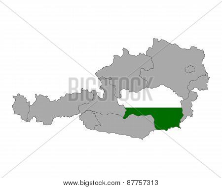 Map Of Austria With Flag Of Styria