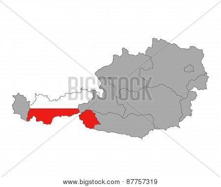 Map Of Austria With Flag Of Tyrol