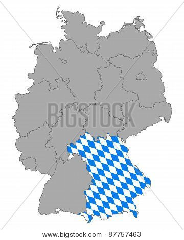 Map Of Germany With Flag Of Bavaria