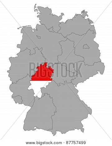 Map Of Germany With Flag Of Hesse
