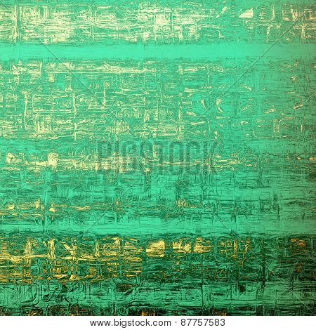 Antique vintage textured background. With different color patterns: green; yellow (beige); cyan