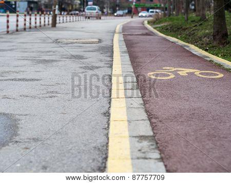 Bicycle Lane In Sofia,Bulgaria.