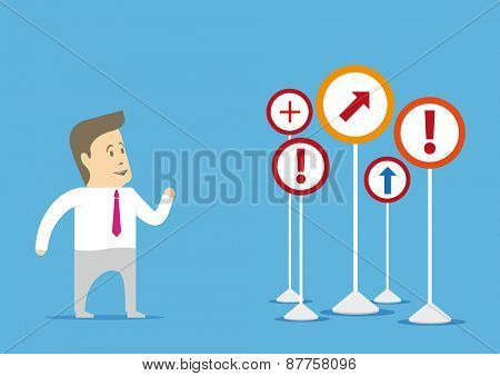 Businessman standing in front of a few confused confusing signs