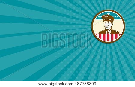 Business Card Airline Pilot Aviator Usa Flag Circle Retro