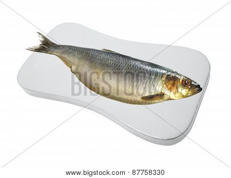 Smoked Mackarel On Cutting Board Isolated On White