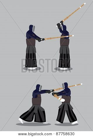 Kendo Martial Arts Vector Illustration