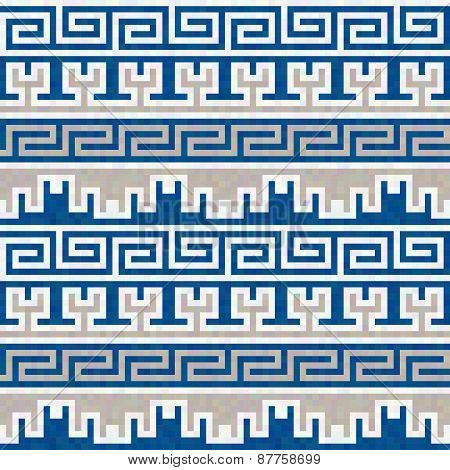 Seamless Blue And Beige Greek Pattern