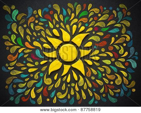Decorative sun on black background. Plasticine illustration