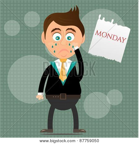 Sad, crying, young, standing, businessman with tears, piece of paper with text Monday, gray backgrou