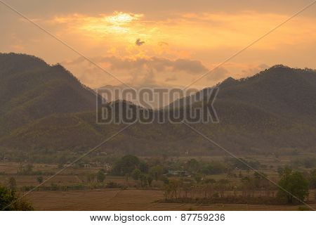 Majestic Sunset In The Mountains Landscape. Pai, Thailand