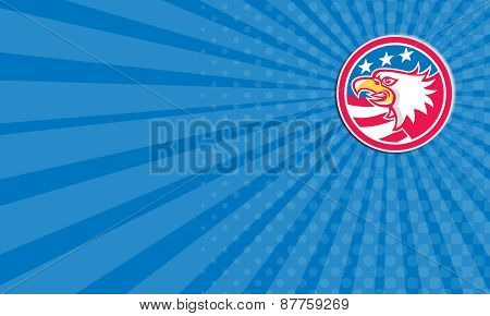 Business Card American Bald Eagle Head Flag Circle Retro