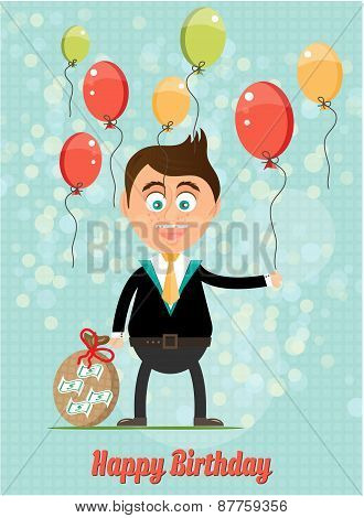 Birthday card with smiling, happy, young, standing, businessman with money, colorful, flying balloon